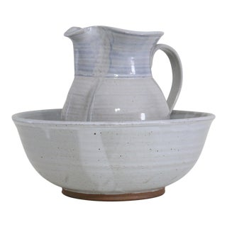 Handmade Pitcher & Wash Basin - A Pair For Sale