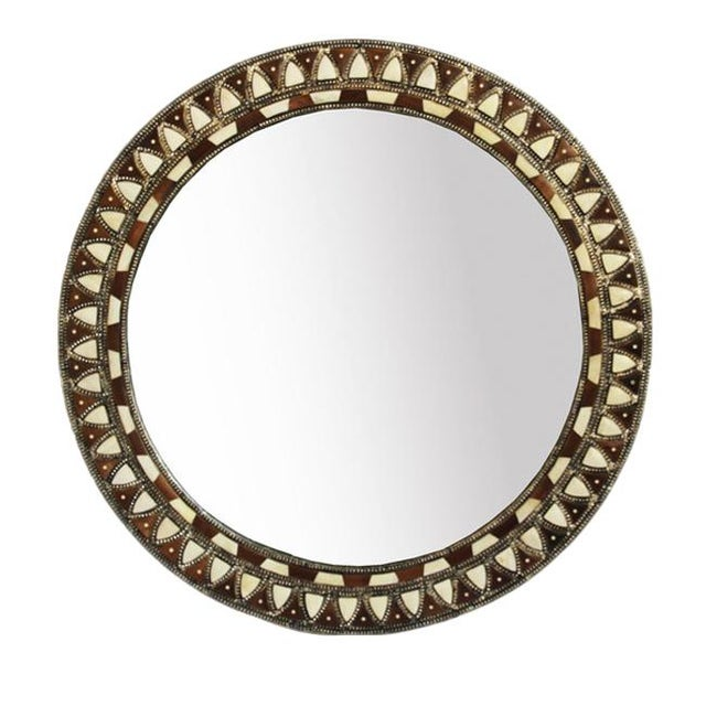 Asian Round Inlay Mirror Large For Sale - Image 3 of 3