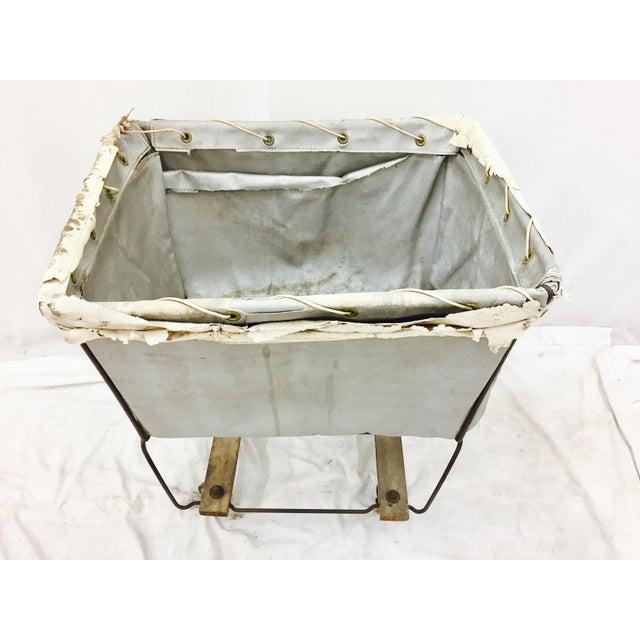 Vintage Laundry Cart Basket For Sale - Image 4 of 8