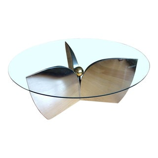 "Mid-Century ""Atomic"" Chrome & Glass Coffee Table For Sale"