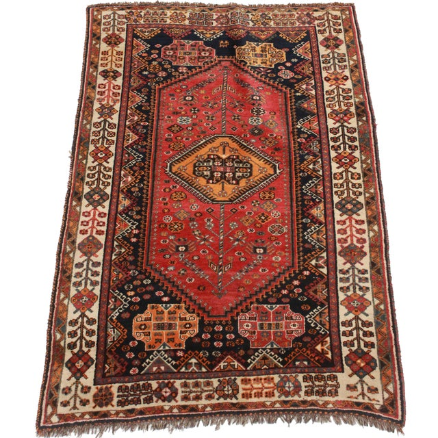 Rugsindallas Vintage Persian Design Wool Area Rug: RugsinDallas Persian Shiraz Hand Knotted Wool Rug