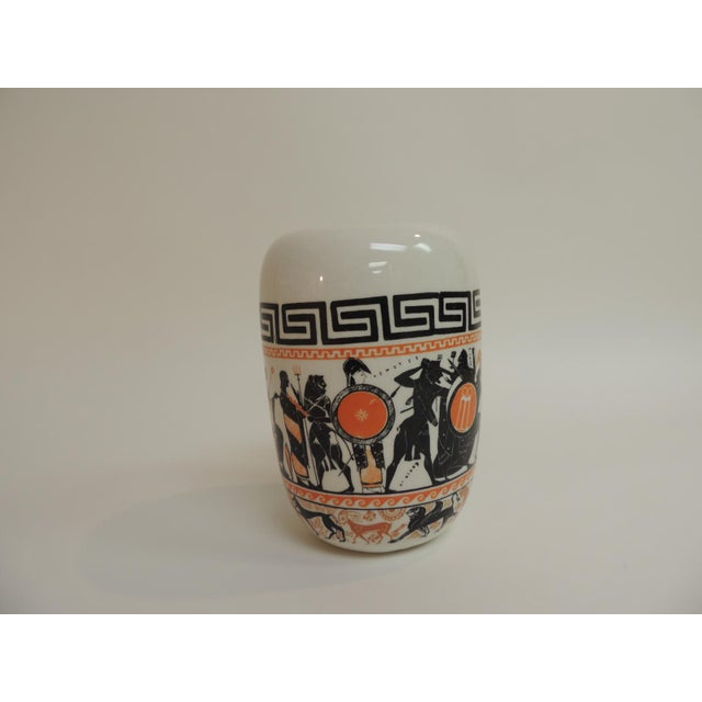 Renaissance Revival Vintage Round Etruscan Greek Hand Painted Ceramic Vase For Sale - Image 3 of 5