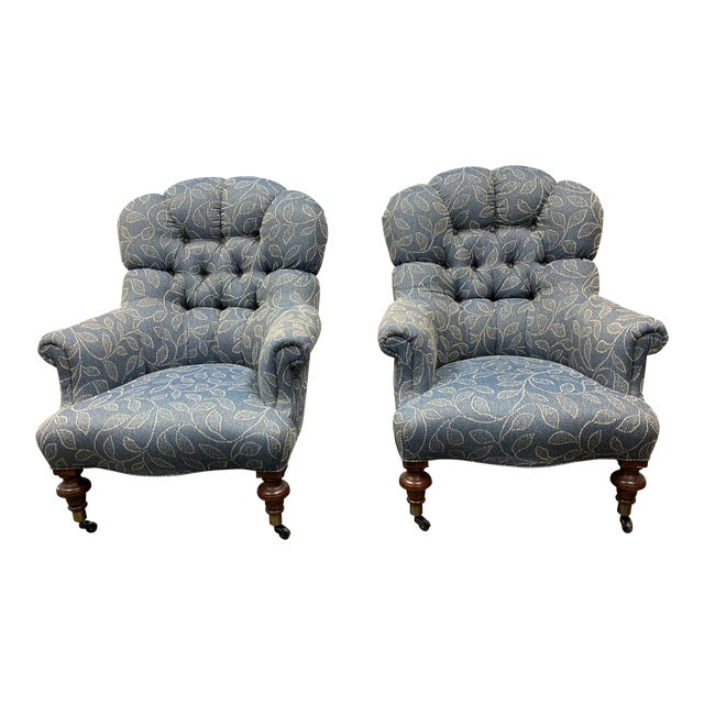 Ethan Allen Redgrave Tufted Arm Chairs - a Pair For Sale