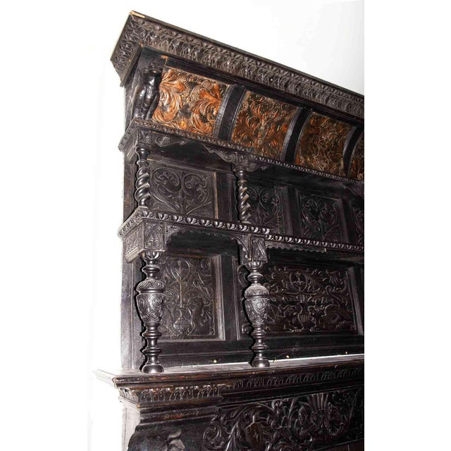 Chestnut Late 19th Century German Renaissance Style Carved Chestnut Mantel For Sale - Image 8 of 11