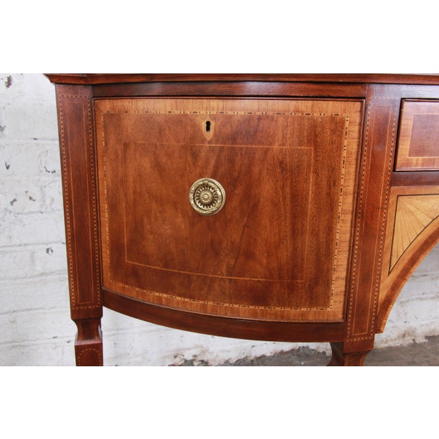 Baker Furniture Stately Homes Sheraton Bow Front Inlaid Mahogany Sideboard For Sale - Image 9 of 13