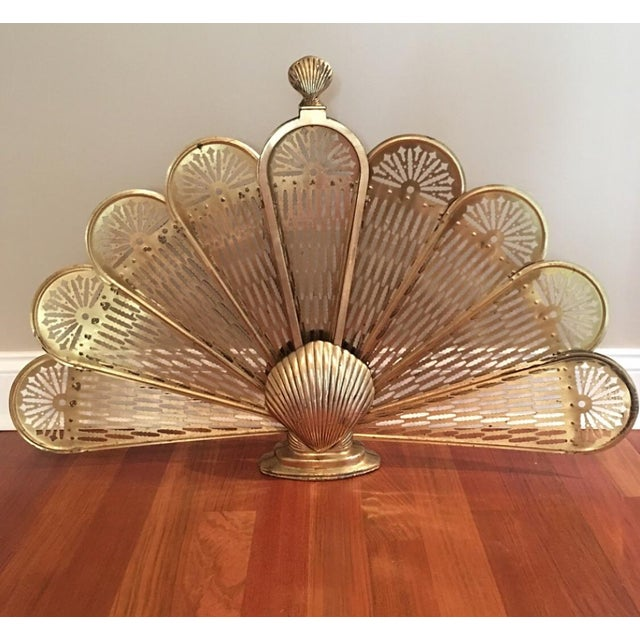 Hollywood Regency 1980s Hollywood Regency Folding Brass Peacock Clamshell Fireplace Screen For Sale - Image 3 of 3