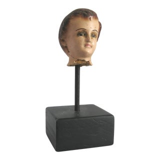 Antique Santo Small Head Sculpture on Stand