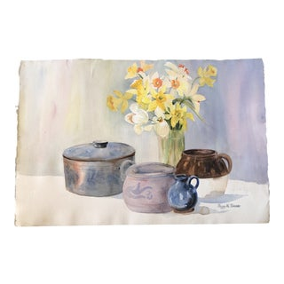 Original Vintage Impressionist Still Life Painting With Pots & Daffodils For Sale