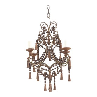 1950s Italian Vintage Wood Beaded Chandelier For Sale