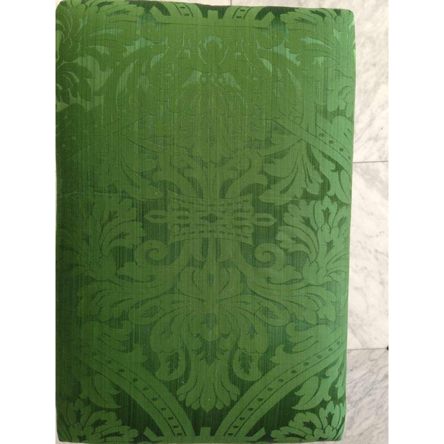 Mahogany English Chippendale Style Stool Upholstered in Green Brocade For Sale In Savannah - Image 6 of 6