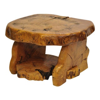 Mid-Century Modern Live Edge Burl Wood Slab Coffee Table by Fabulous Furniture For Sale