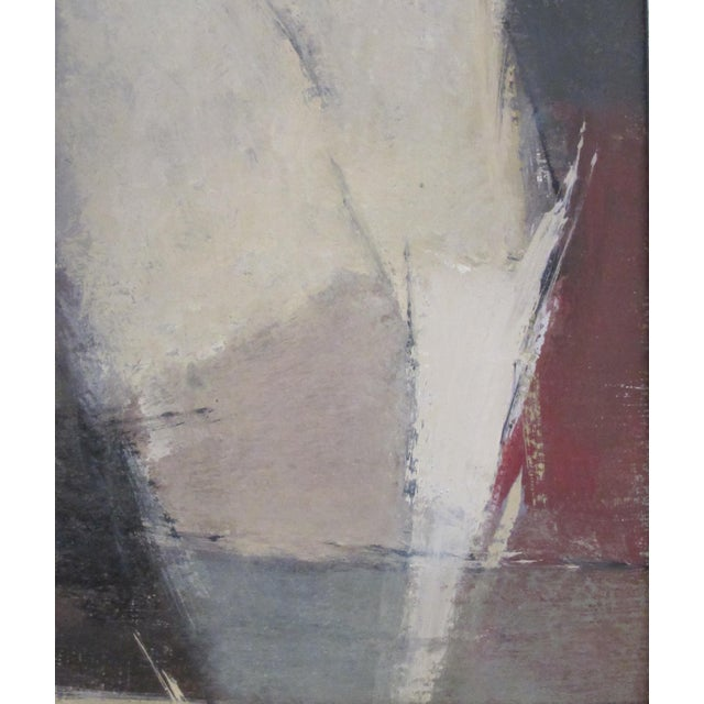Abstract A moody American 1960's oil abstract painting of a man with hat; signed For Sale - Image 3 of 5