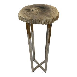 Organic Modern Argo Petrified Wood Drink Table For Sale