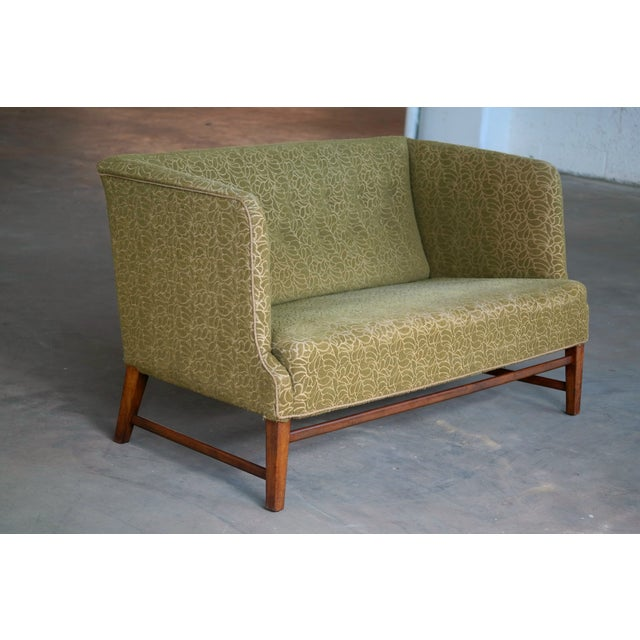 Fabric 1930s Kaare Klint Style Danish Settee in Mahogany Attributed to Georg Kofoed For Sale - Image 7 of 12
