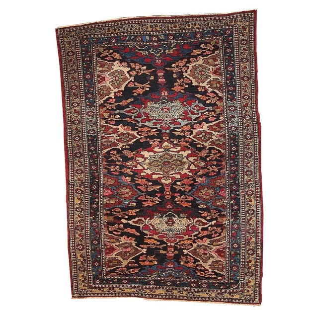 Antique Persian Isfahan Rug - 4′3″ × 6′ - Image 1 of 7