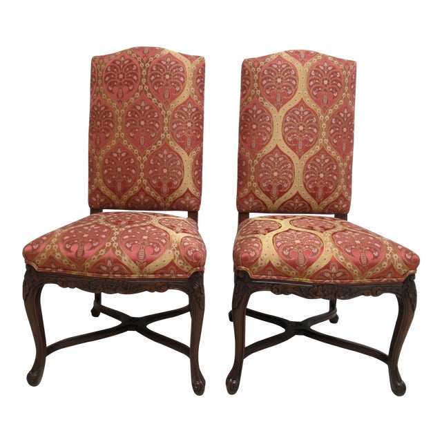 Fremarc Designs Country French Walnut Dining Chairs - a Pair For Sale