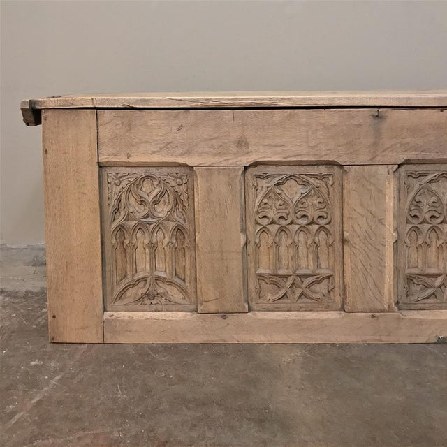Camel Trunk, 19th Century Rustic Gothic in Stripped Oak For Sale - Image 8 of 12