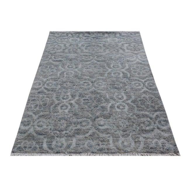"Kafkaz Peshawar Rosalia Gray/Gray Wool & Viscouse Rug - 3'11"" X 5'9"" For Sale - Image 5 of 8"