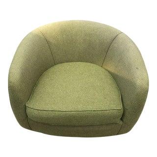 Vintage Mid-Century Modern Round Club Barrel Chair For Sale