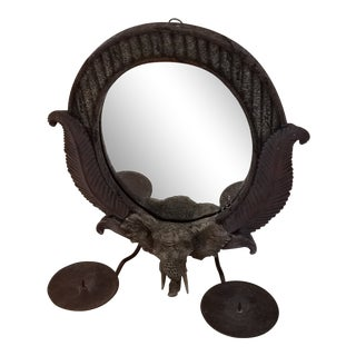 Vintage Black Resin Elephant Head Mirror & Candle Holders For Sale