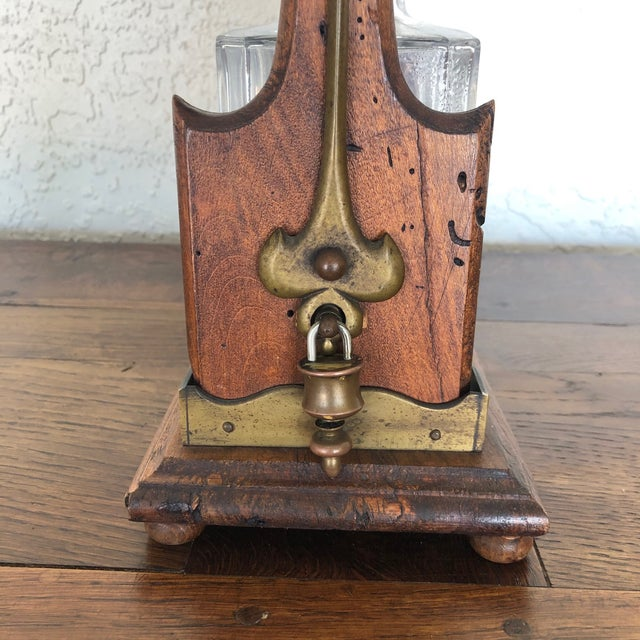 Victorian Antique English Oak Decanter Tantalus For Sale - Image 3 of 11
