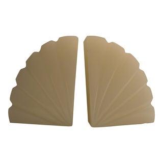 White Art Deco Fan Bookends - A Pair