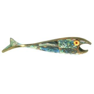 Abalone & Brass Fish Bottle Opener For Sale