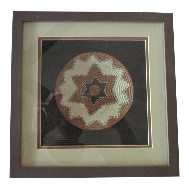 Vintage African Petite Basket Framed in a Shadow Box For Sale