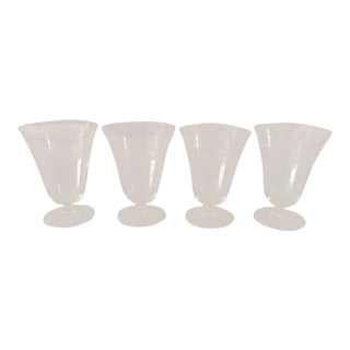 1960s Mid-Century ModernEtched Leaf Pattern Water Glasses - Set of 4 For Sale