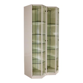 Modern Ivory Lacquered Narrow V Front Lighted Display Cabinets a Pair For Sale