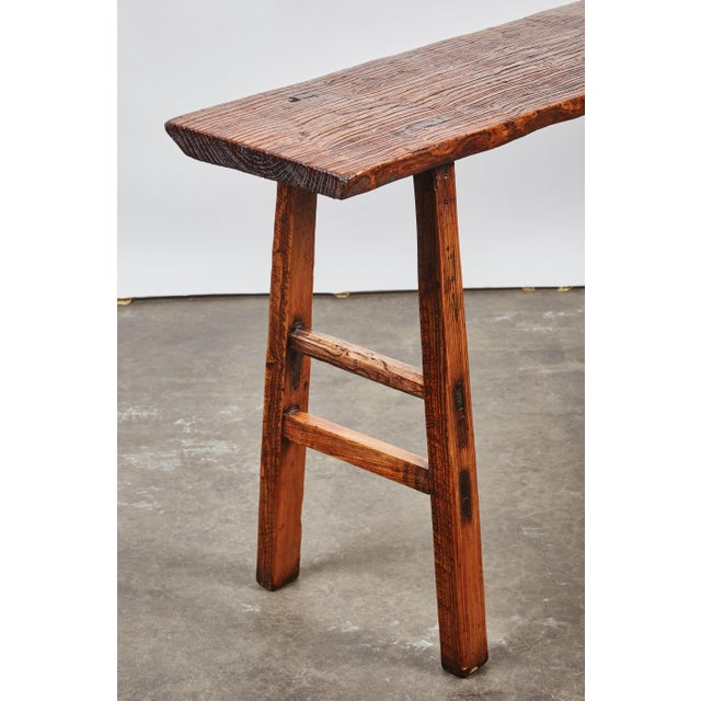 Early 19th Century Chinese Simple Side Table with a Long Single Hand of Deep Brown Elm Wood - Image 3 of 7