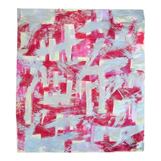 Suga Lane Modern Abstract Gold Red Hot Pink Painting on Vintage Paper