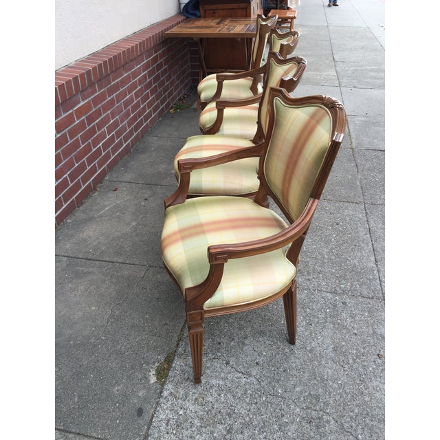 Silk Carved Neoclassic Dining Chairs with Silk Upholstery set of 4 For Sale - Image 7 of 9