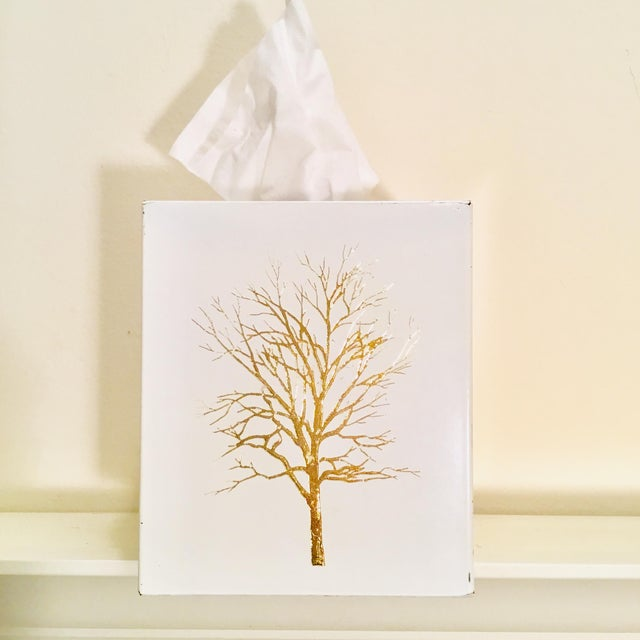 Vintage White Lacquered Plastic Tissue Box With Gold Metallic Abstract Tree Design For Sale - Image 9 of 9