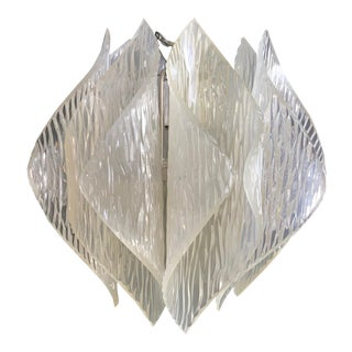 Mid-Century Modern Folded Origami Textured Opaque Lucite Acrylic Kalmar Style Chandelier Ceiling Pendant Light For Sale