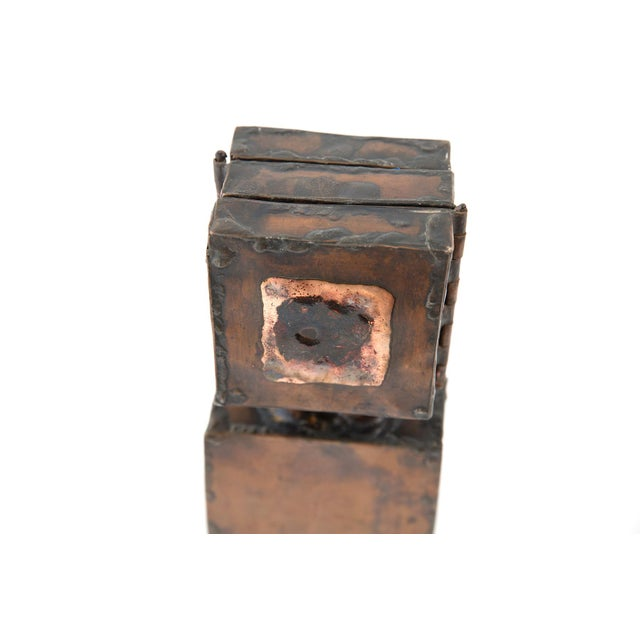 1970s Brutalist Copper Sculpture With 3-Door Top For Sale - Image 5 of 7