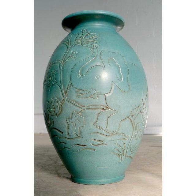 Beautiful dove blue colored Mid-Century Danish modern ceramic vase with a very cute elephant motif by Knabstrup Keramik...