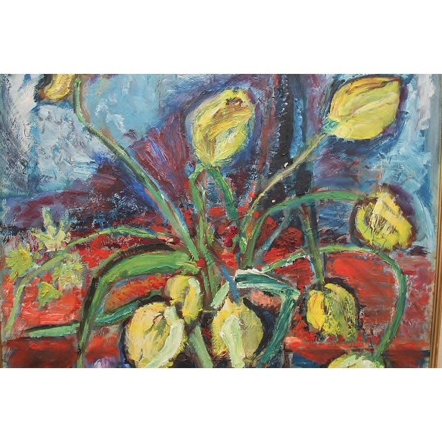 """Traditional 1960's Signed """"Tulip"""" Still Life Oil on Board Painting For Sale - Image 3 of 7"""