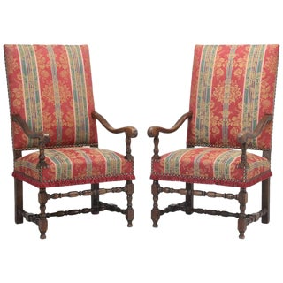 Pair of Antique French Arm Throne Chairs For Sale