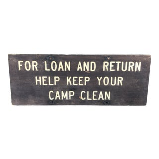 1930s Vintage Wood Keep Your Campsite Clean Rustic Sign For Sale