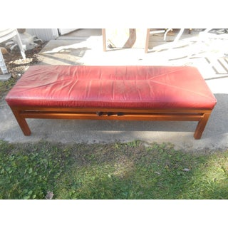 "Vintage Solid Wood & Red Leather 60"" Bench Preview"