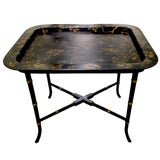 Image of English Chinoiserie Black & Gold Papier Mâché Tray Table For Sale