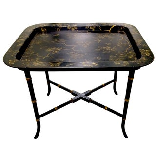 English Chinoiserie Black & Gold Papier Mâché Tray Table For Sale