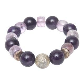 Purple Quartz and Silver Stretch Bracelet For Sale