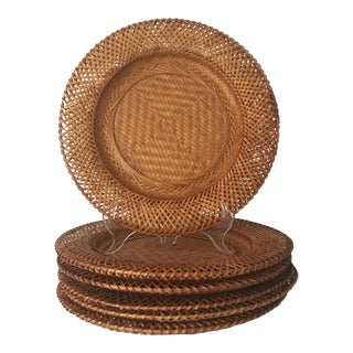 1980s Boho Chic Rattan Charger Plates - Set of 6