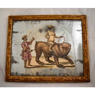 19th C. French Exotic Hand-Painted Decoupage Mirror, Animal Trainer, Monkey & Bear Preview