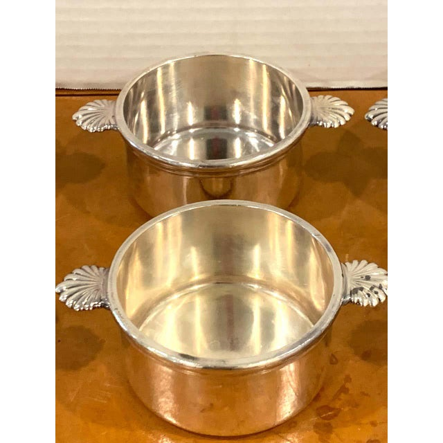 Metal French Silverplated Handled Open Tureens/ Pot De Crème by Europe Felix - Set 6 For Sale - Image 7 of 10