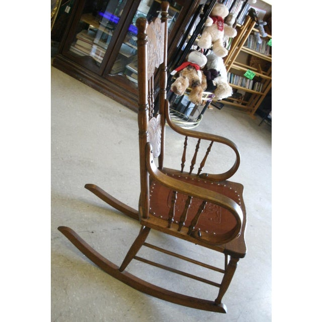 American Antique Larkin Soap Company Ribbon Back Oak Rocking Chair For Sale - Image 3 of 13
