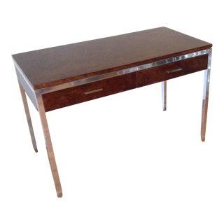 Tomlinson Furniture Mid Century Modern Burl Wood and Aluminum Desk For Sale