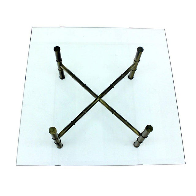 Brass X Base Brass Faux Bamboo Square Glass Top Coffee Table For Sale - Image 7 of 8